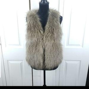 J crew faux fur vest small
